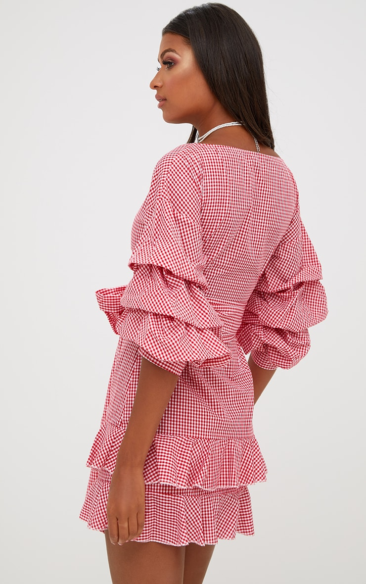Red Gingham Frill Sleeve Detail Mini Dress 2