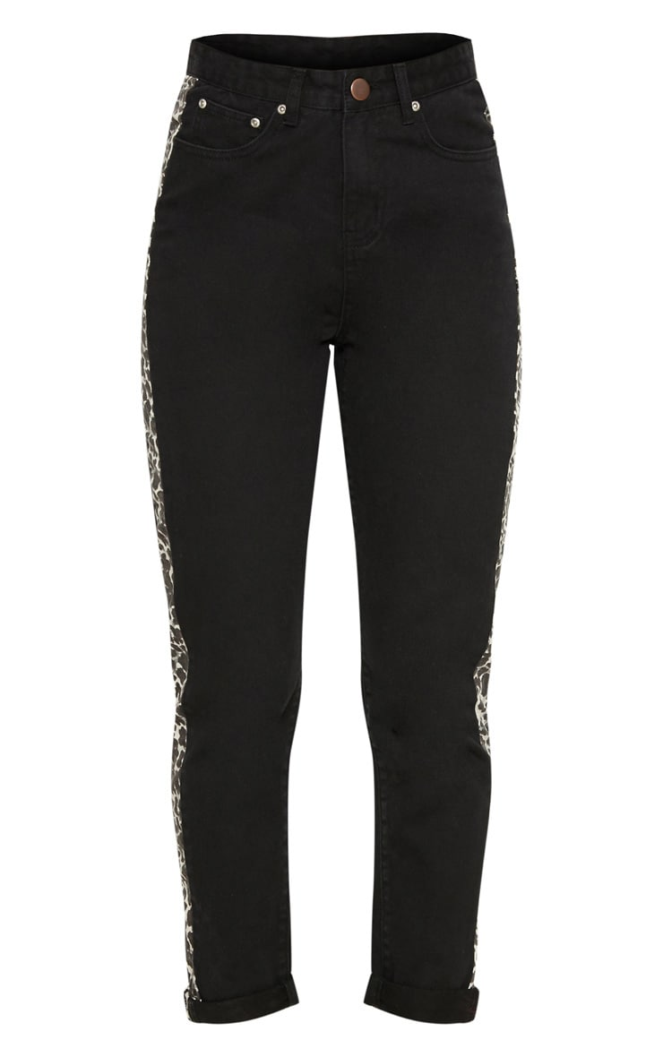 Black Leopard Side Stripe Mom Jean 3