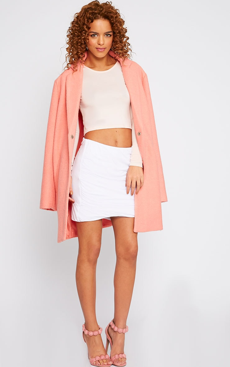 White Jersey Ruched Mini Skirt  1