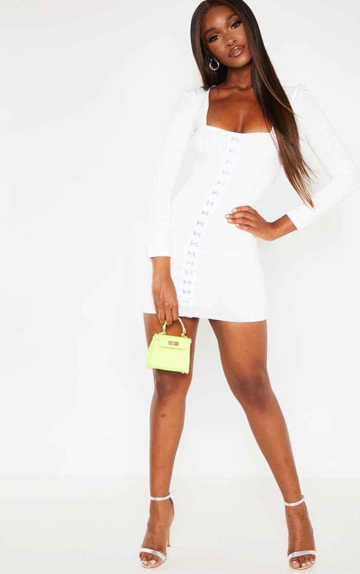 White Long Sleeve Cup Detail Hook and Eye Bodycon Dress