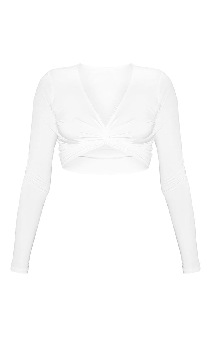 White Slinky Long Sleeve Twist Front Crop Top 3