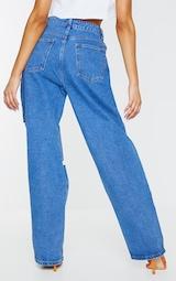Mid Blue Wash Extreme Knee Rip Boyfriend Jeans 3
