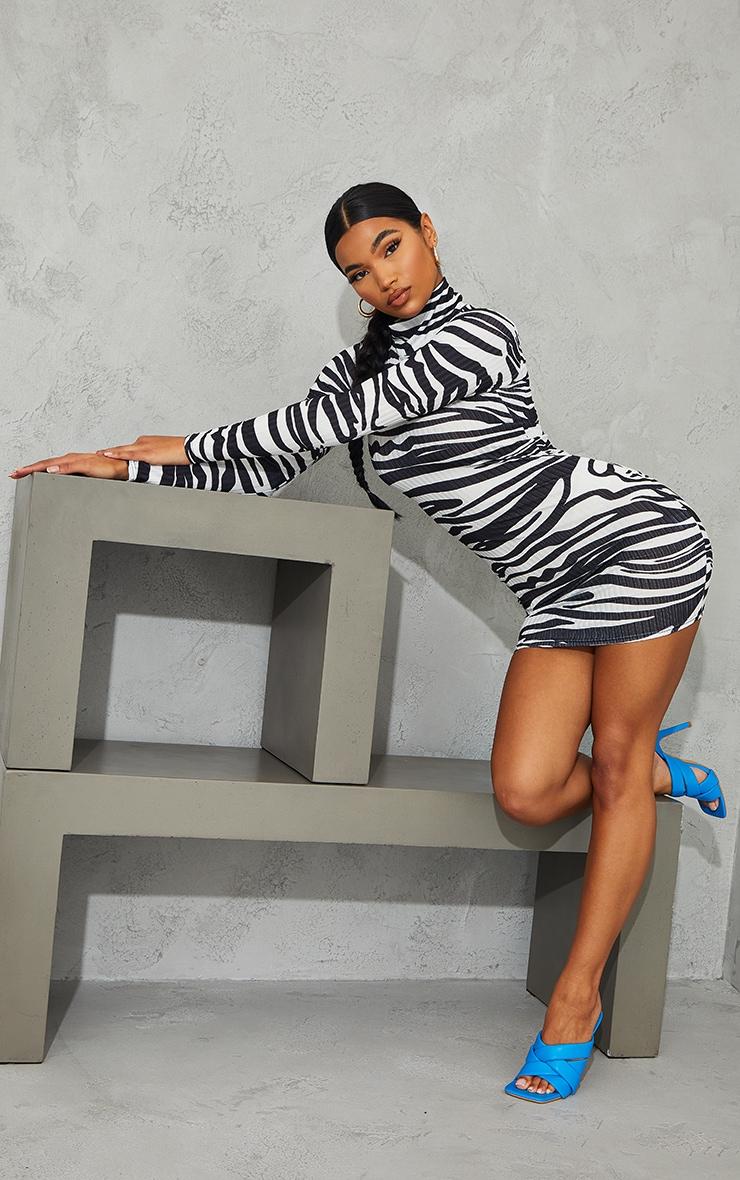 Monochrome Zebra Print Ribbed Long Sleeve High Neck Bodycon Dress 3