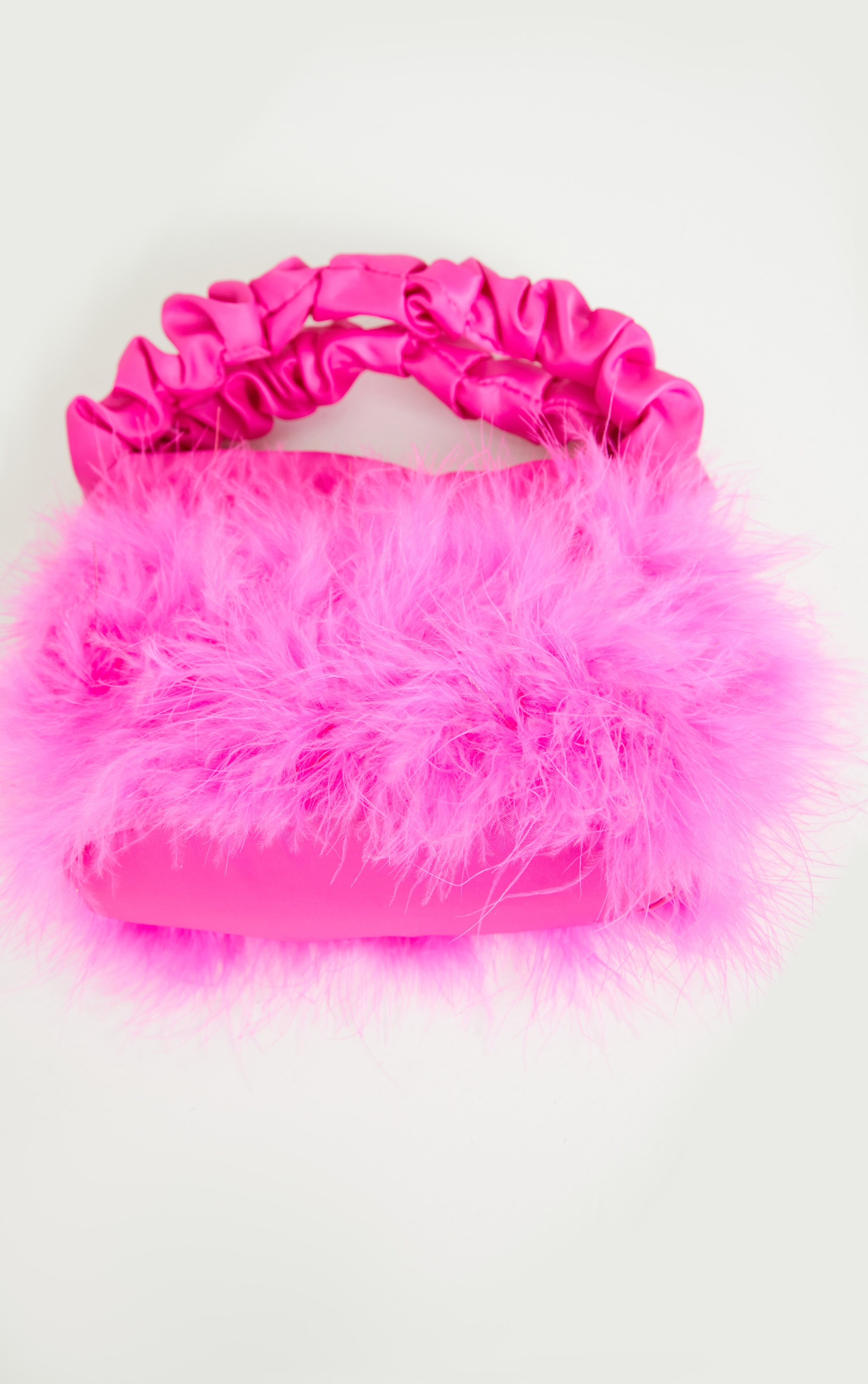 Pink Feather Ruched Handle Mini Grab Bag 4