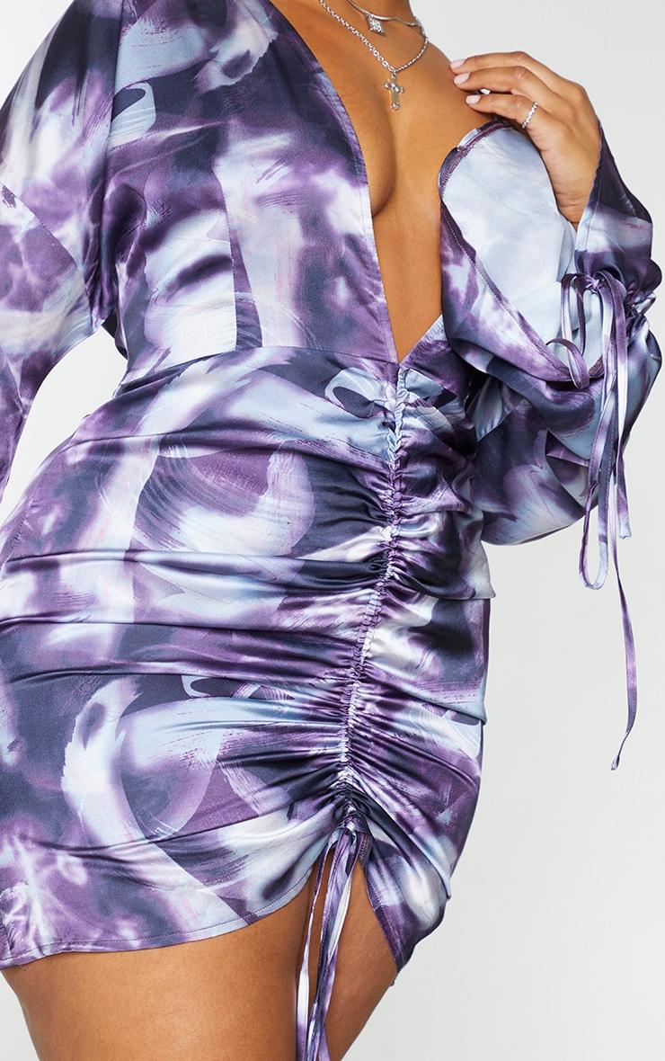 Plus Black Tie Dye Satin Plunge Ruched Front Dress 4