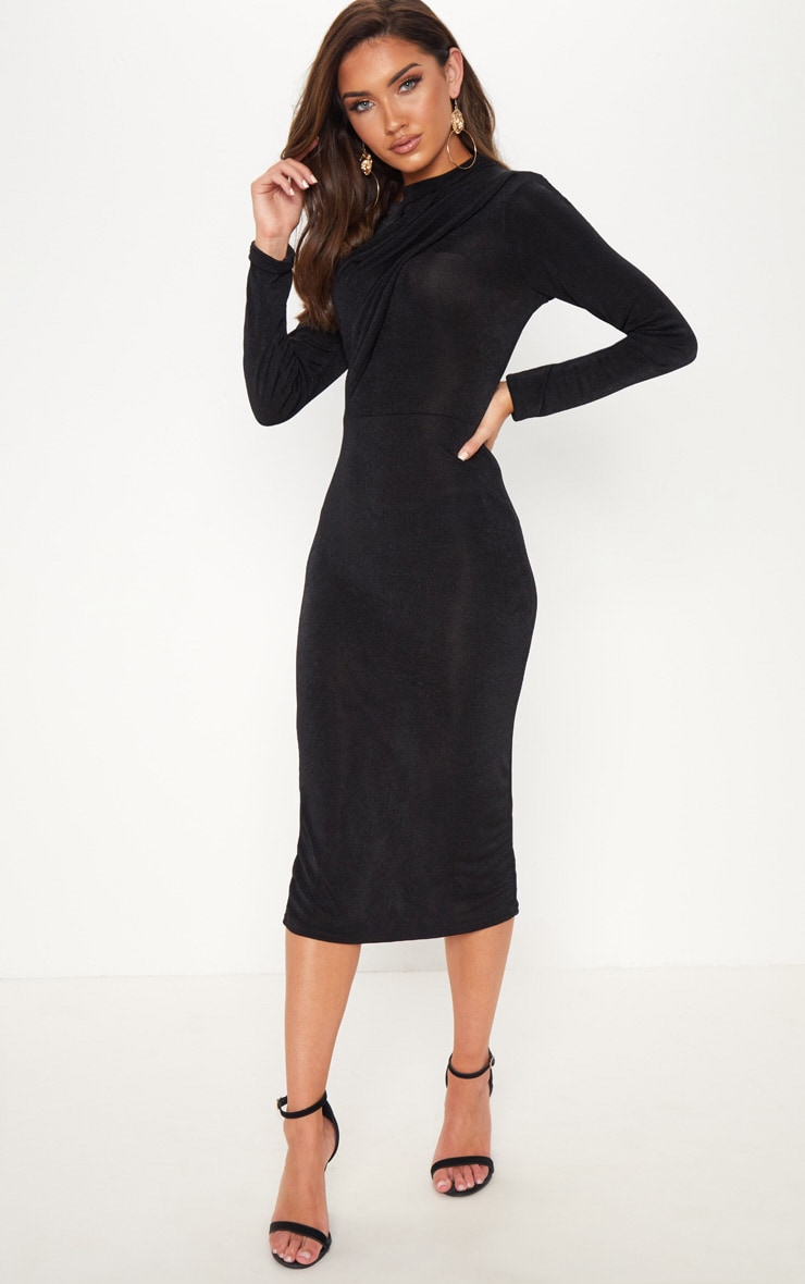 Black High Neck Drape Front Midi Dress