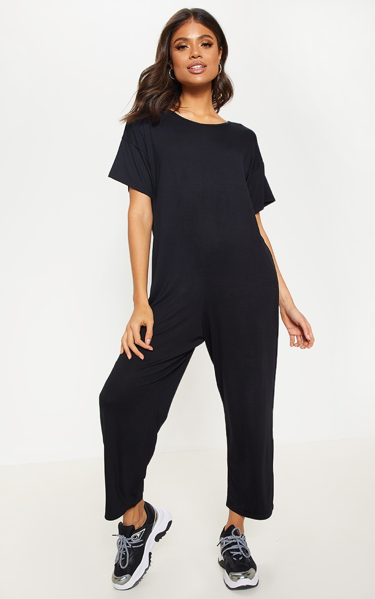 Black Oversized T Shirt Culotte Jumpsuit 4