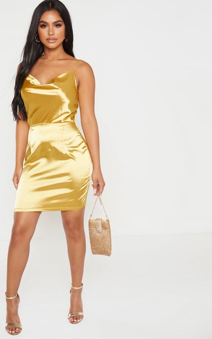 Petite Chartreuse Cowl Neck Tie Shoulder Satin Mini Dress 1