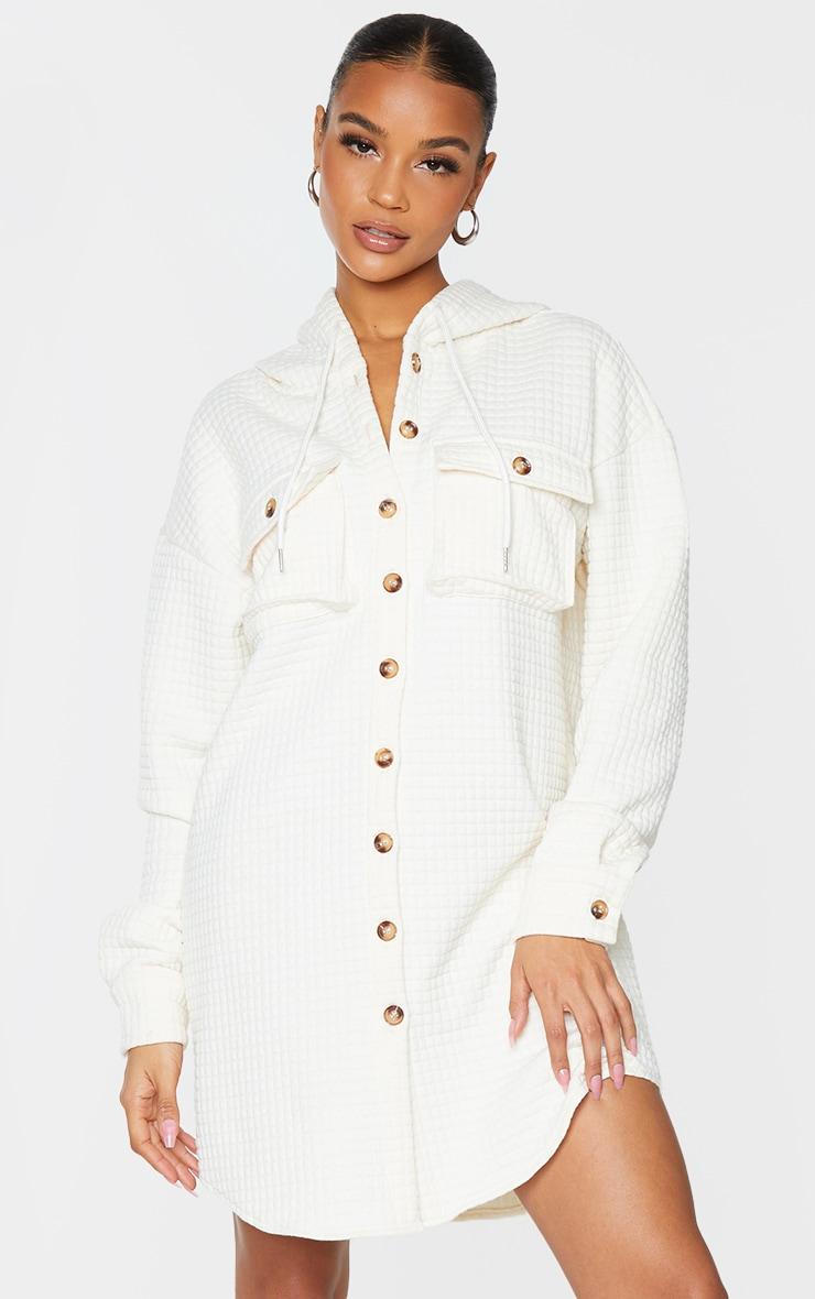 Cream Waffle Button Up Hooded Sweat Dress 1