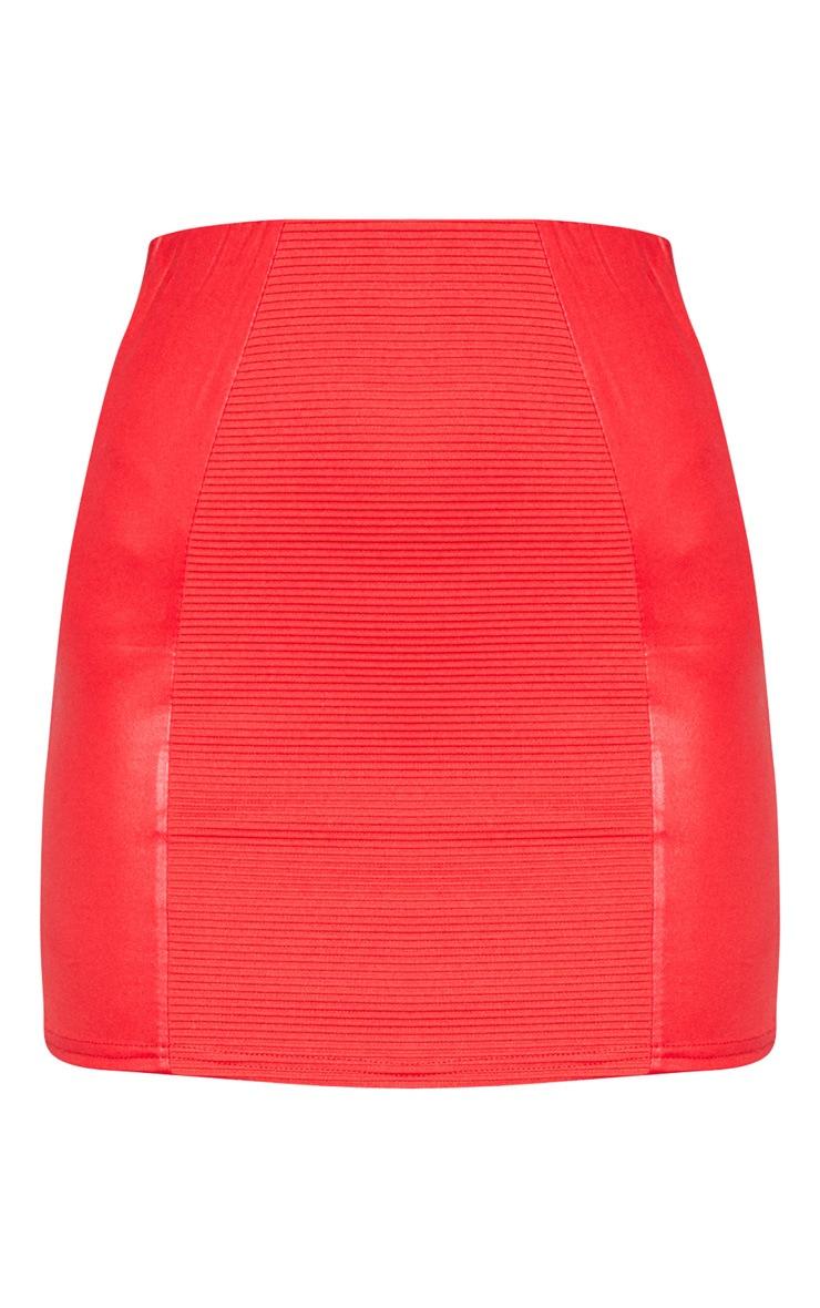 Red Rib Panel Wet Look Mini Skirt 3