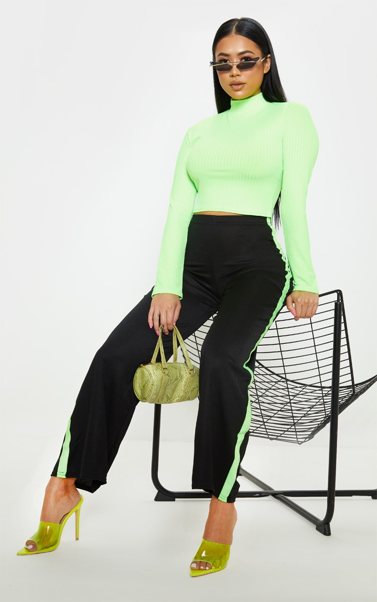 Petite Neon Lime High Neck Ribbed Long Sleeve Crop Top 4
