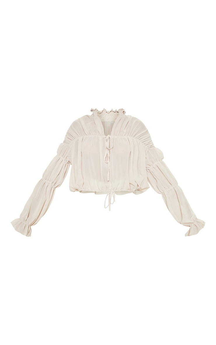 Beige Sheer Ruched Tiered Blouse 3