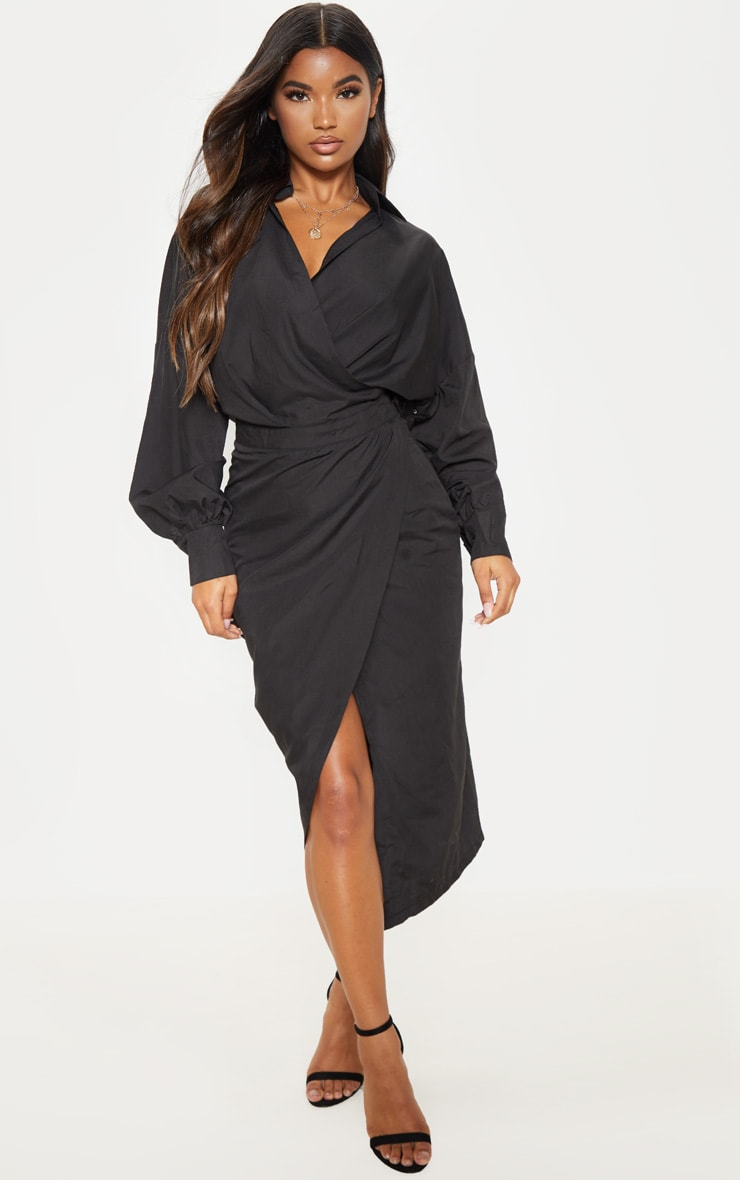 Black Midi Shirt Dress 1
