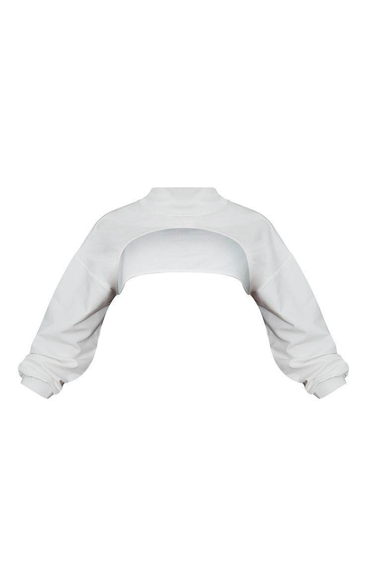 Cream High Rib Neck Arm Warmer Sweat 5