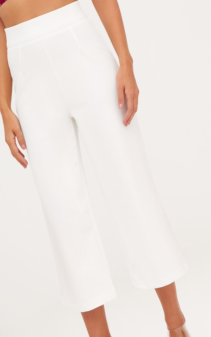 White High Waisted Scuba Culottes  5