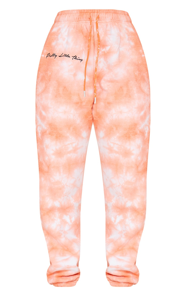 PRETTYLITTLETHING Petite Orange Tie Dye Embroidered Oversized Jogger 5