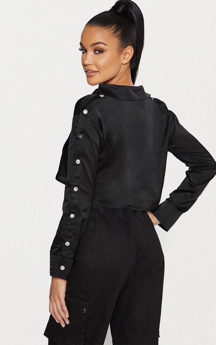 Black Satin Popper Sleeve Crop Shirt  2