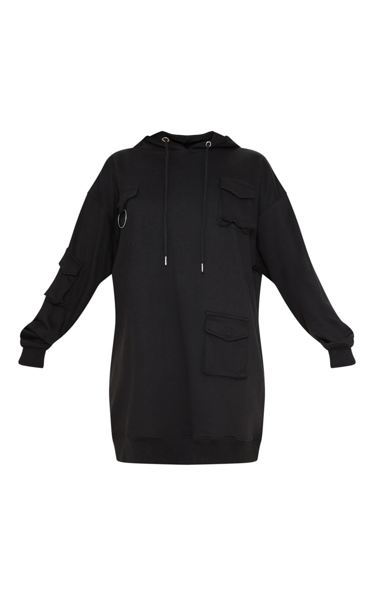 Black Pocket Front Hoodie Dress 3