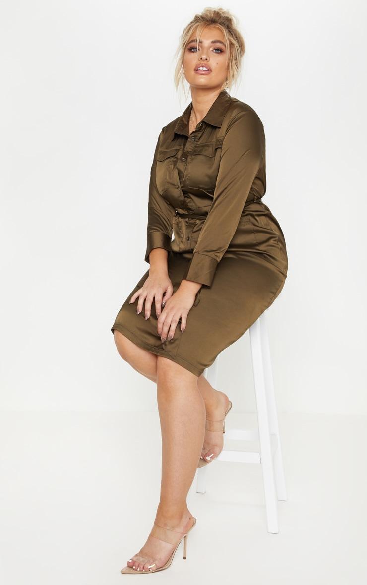 Plus Khaki Satin Pocket Detail Midi Dress 4