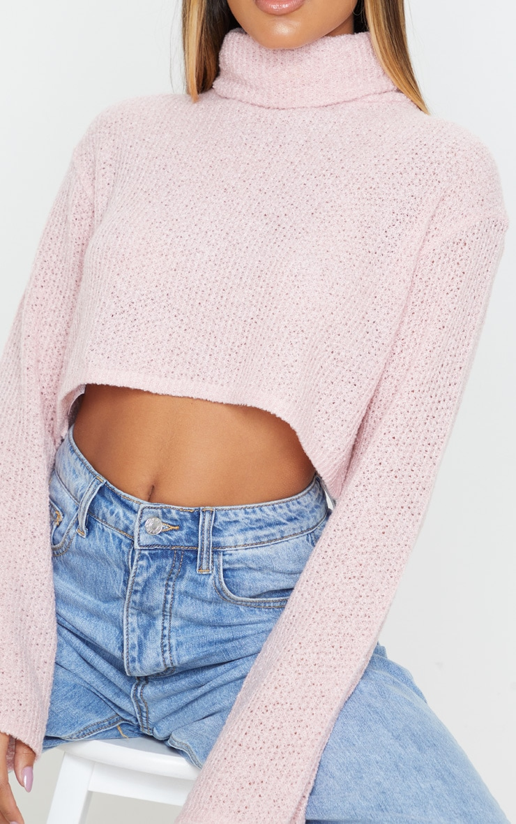 Blush Boucle Crop Knitted Roll Neck Sweater 5