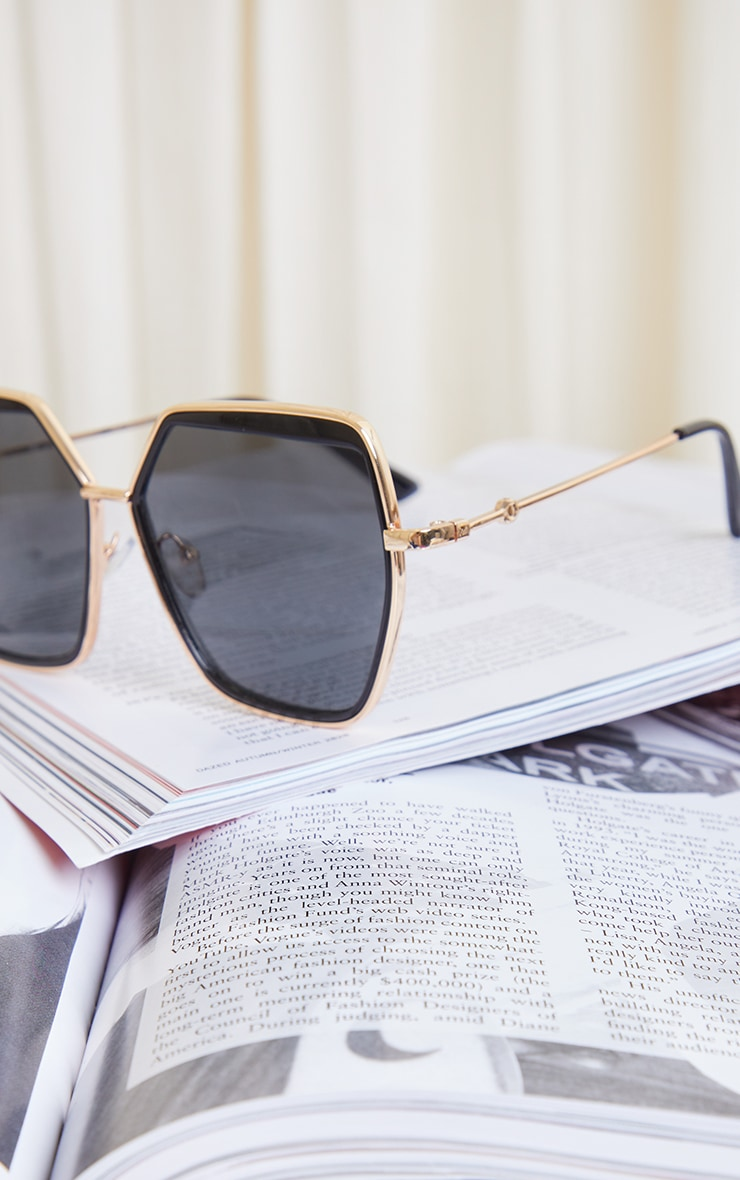 Black Double Frame Oversized Hex Sunglasses 3