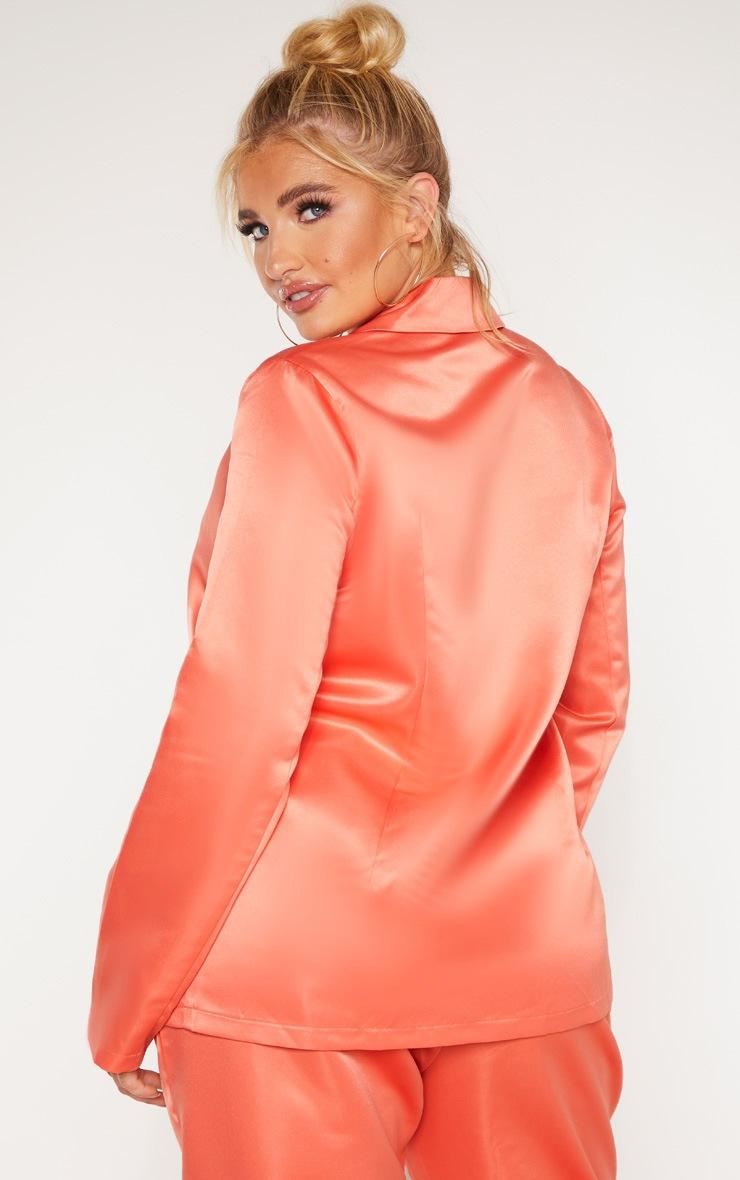 Plus Peach Tailored Satin Blazer 2