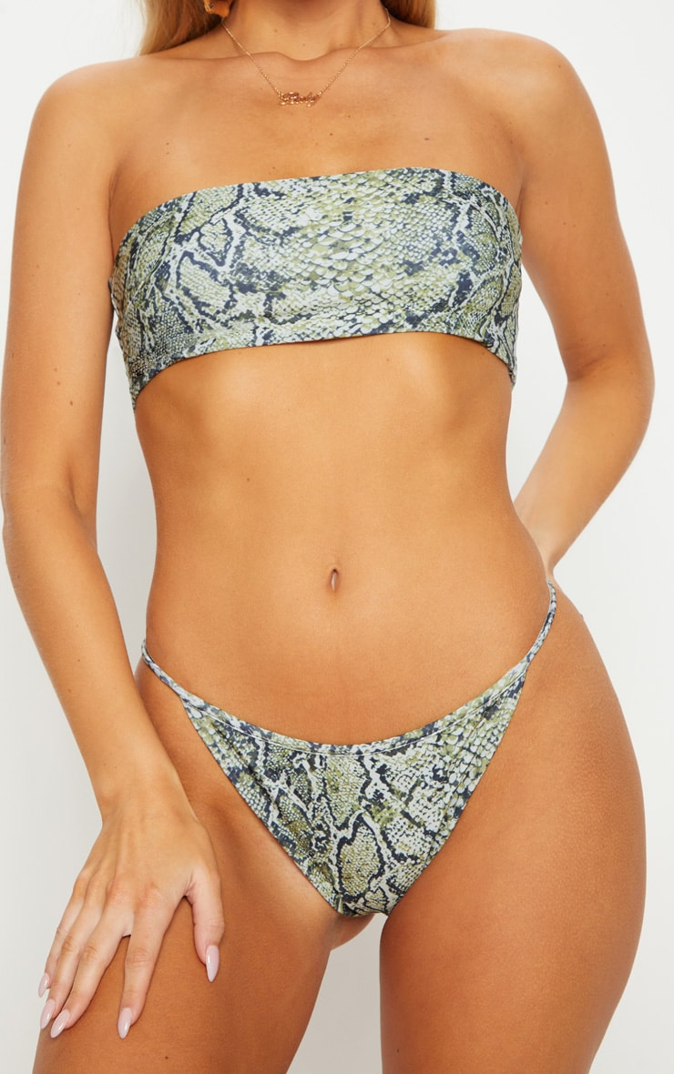 Green Snake Print Bandeau Bikini Top 5