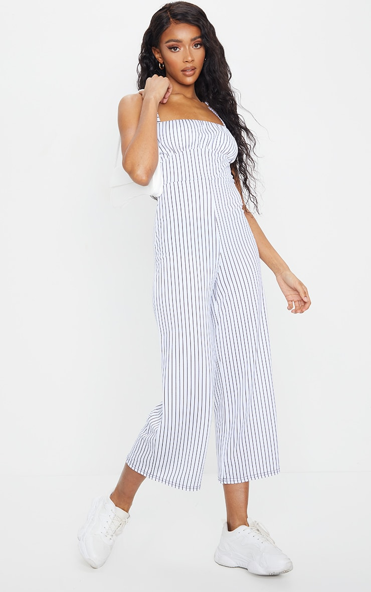 White Pinstripe Ruched Bust Strappy Culotte Jumpsuit 1