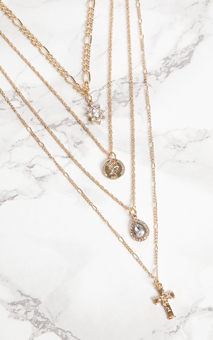 Gold Renaissance Mini Cross Coin Diamante Layered Necklace 3