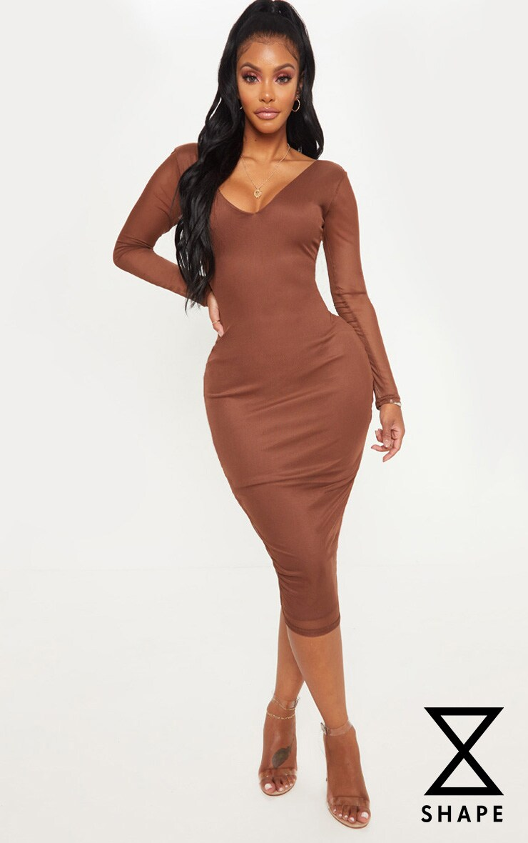 Shape Chocolate Brown Mesh Plunge Back Ruched Bodycon Dress by Prettylittlething