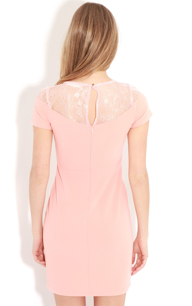 Chrisy Coral Fitted Lace Panel Dress 2