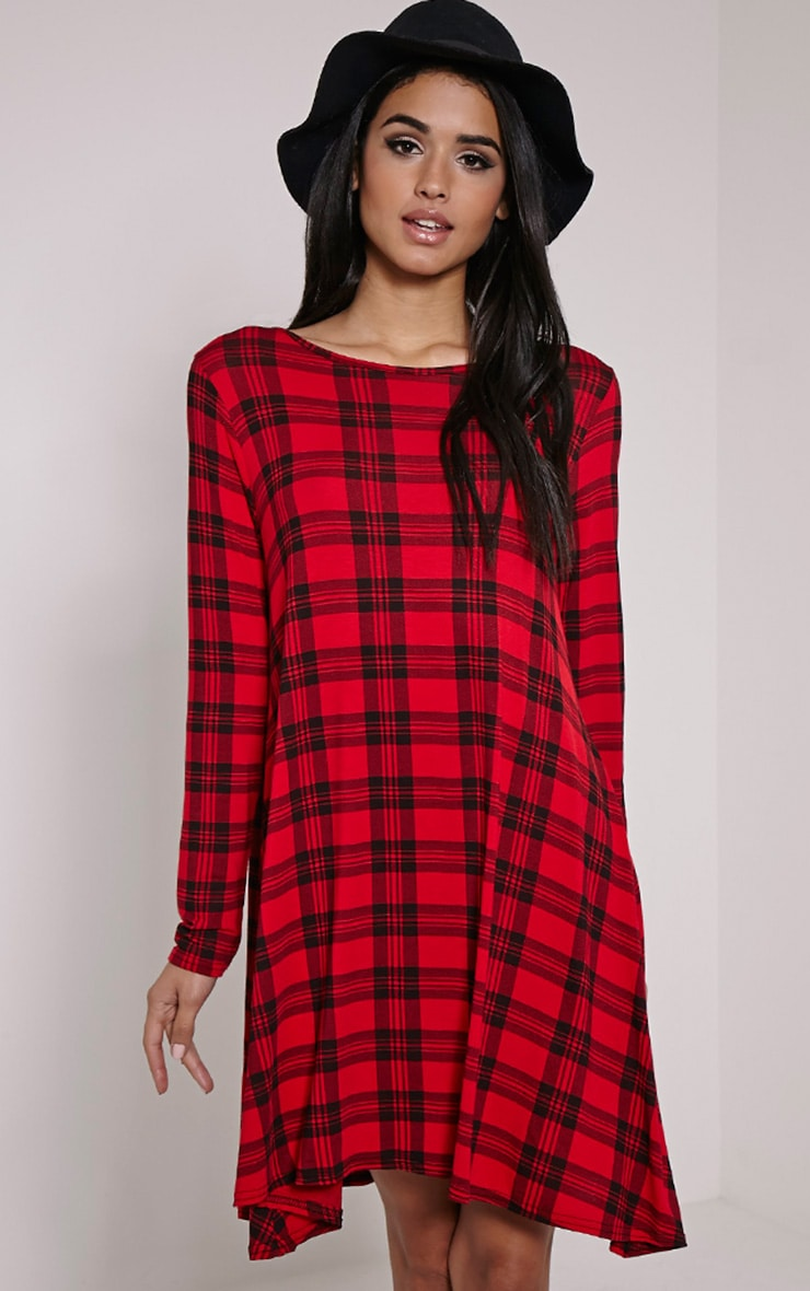 f4cb9be09e3b5 Ivy Red Tartan Long Sleeve Swing Dress | PrettyLittleThing USA: