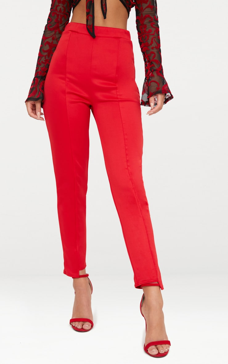 Red Scuba Step Hem Skinny Trousers 2