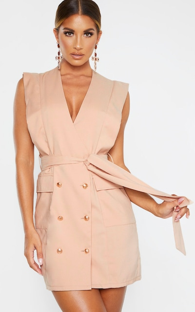 Nude Sleeveless Gold Button Detail Blazer Dress