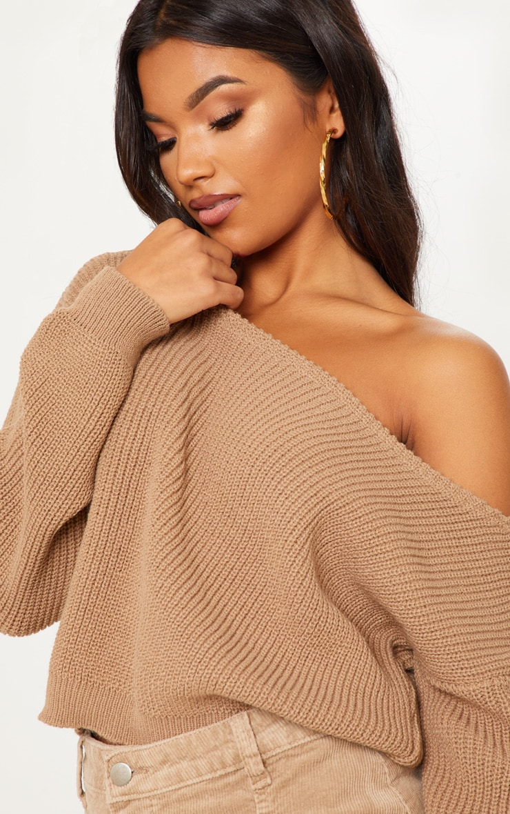 Taupe Off The Shoulder Knitted Crop Jumper 5