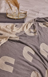 Grey Repeat Arch Print Reverse Tassel Throw 3