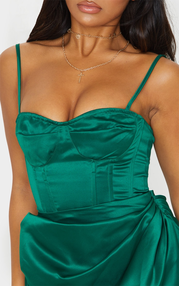 Emerald Green Satin Woven Cup Detail Strappy Corset 5