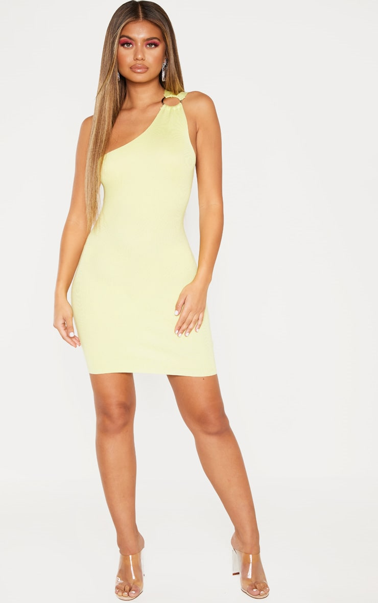 Lime Asymmetric Ring Detail Knitted Dress 4