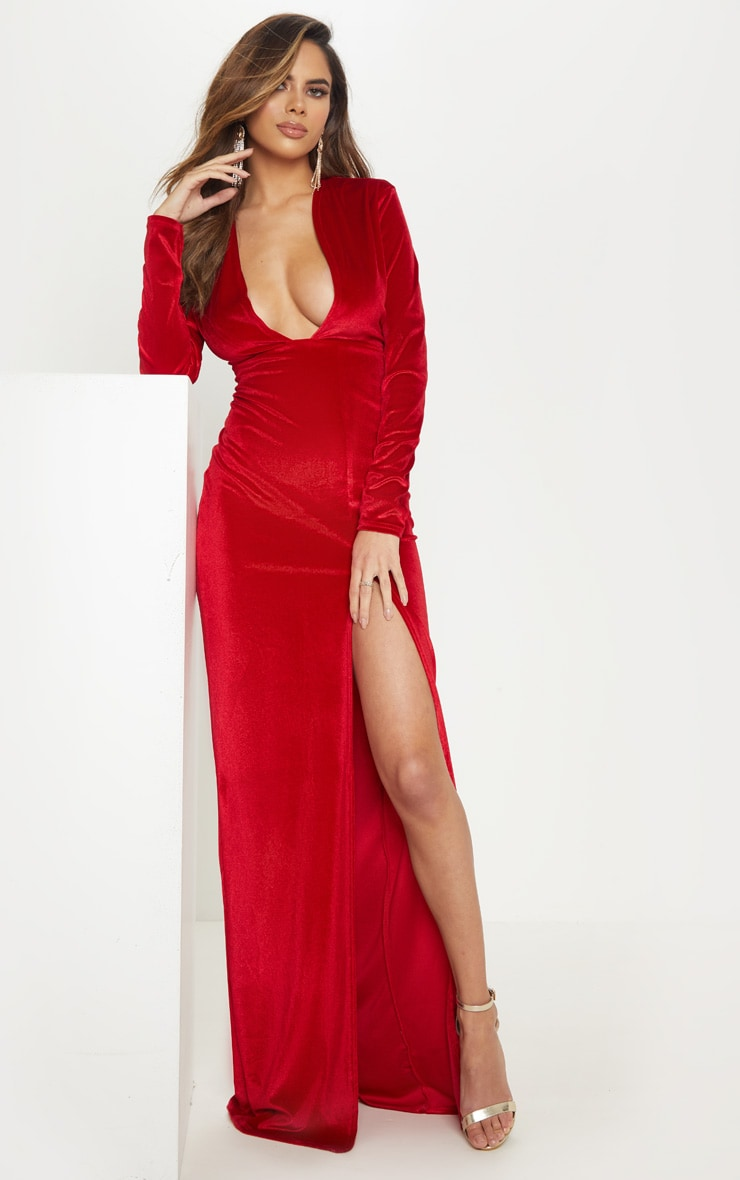 Red Velvet Plunge Split Leg Maxi Dress