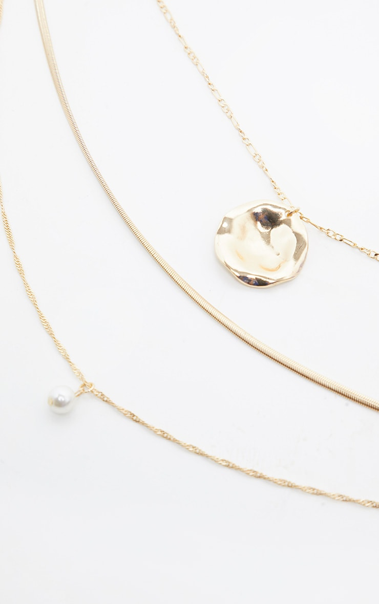 Gold Textured Disc And Pearl Multi Layer Necklace 2
