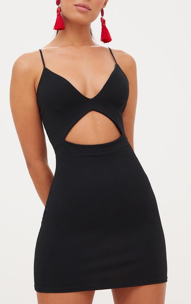 Black Plunge Cut Out Bodycon Dress 5