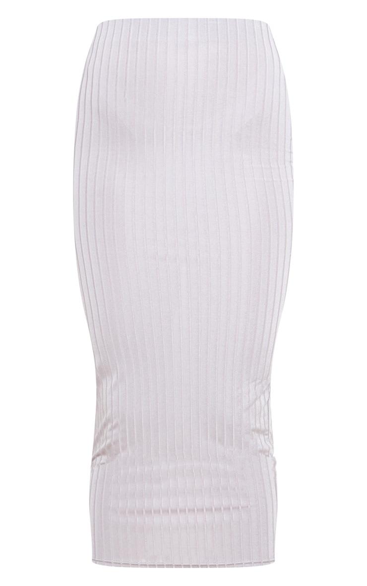 Grey Slinky Rib Midi Skirt 3