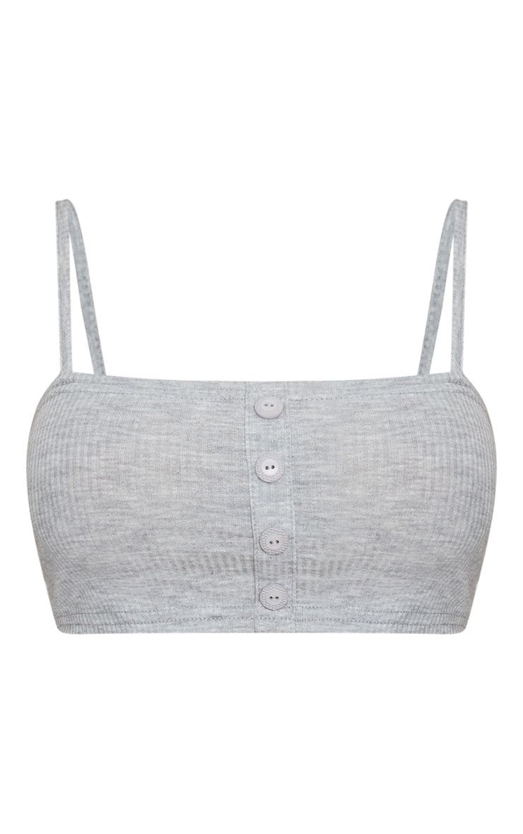 Grey Marl Rib Square Neck Button Detail Crop Top 3