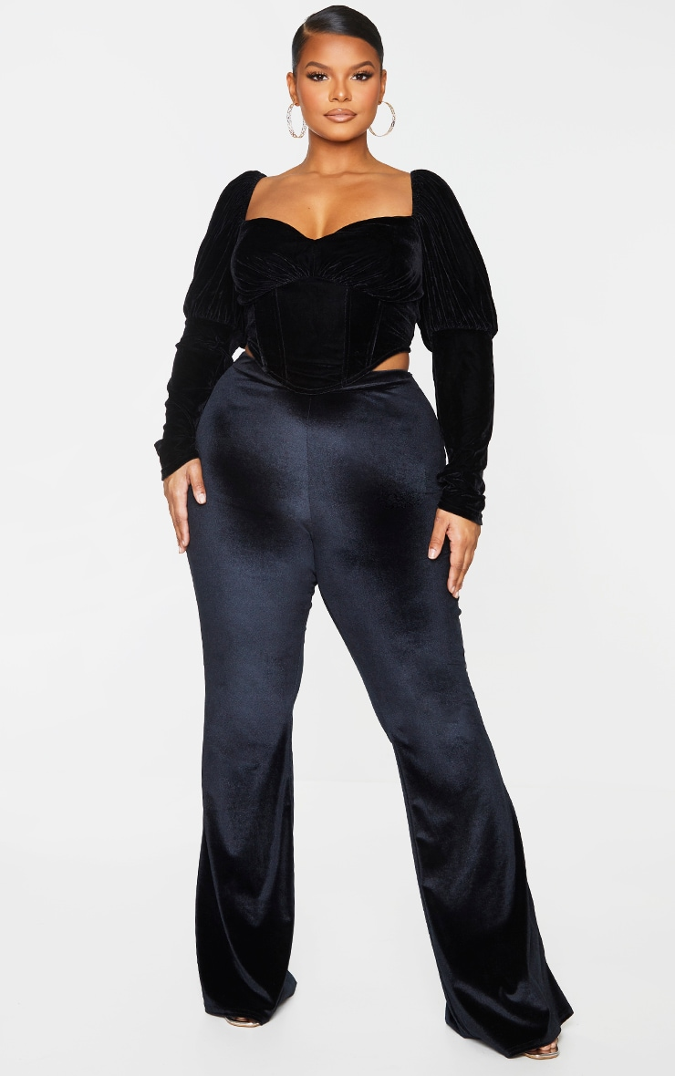 Plus Black Velvet Flared Pants 1