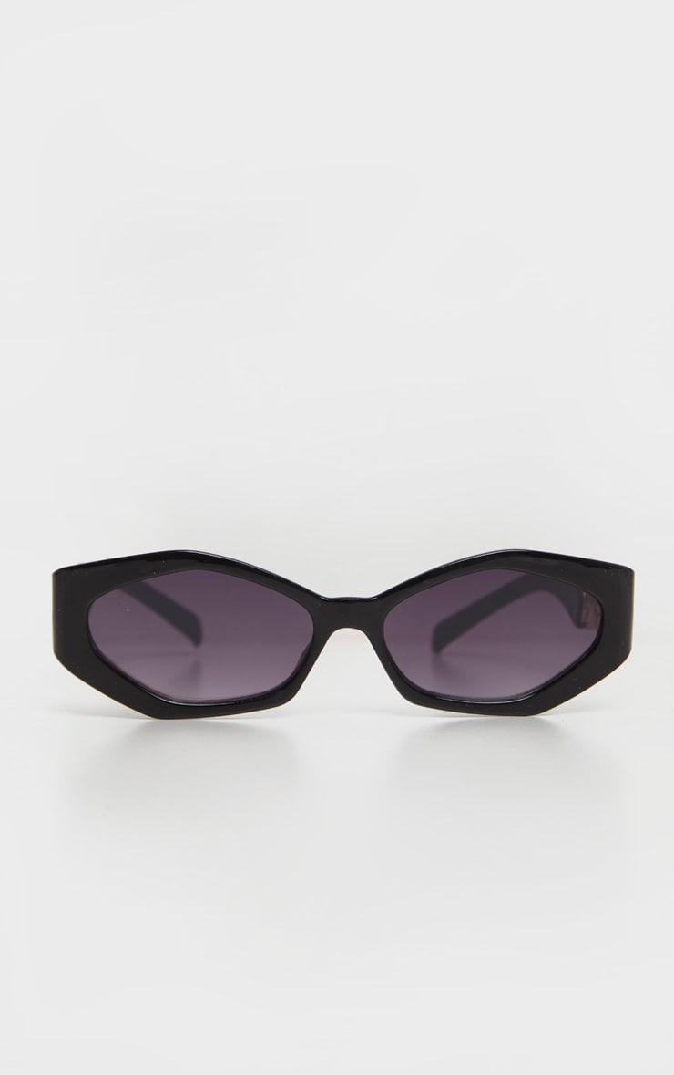 Black Chunky Chain Relaxed Hexagon Sunglasses   2