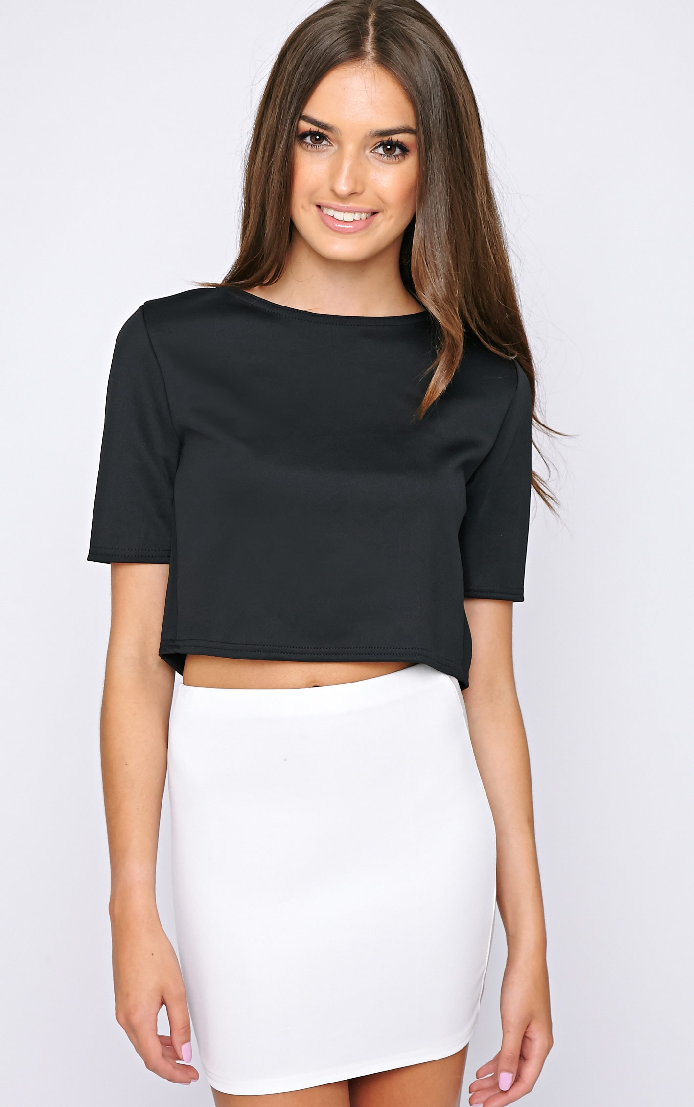 Eliza Black Scuba Crop Top 3
