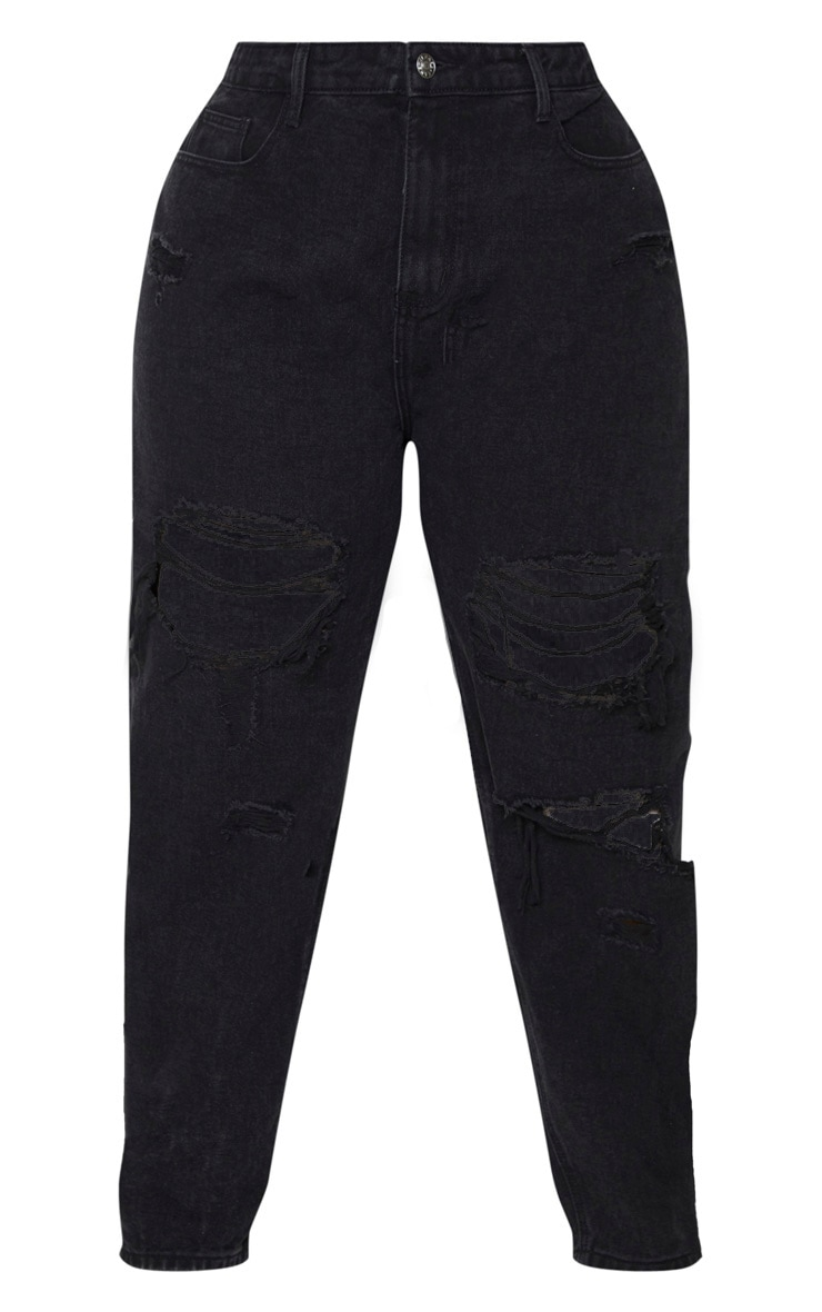 PRETTYLITTLETHING Plus Washed Black Distressed Mom Jean 4