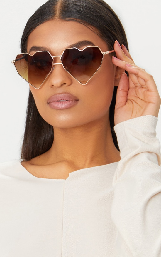 Gold Structured Heart Sunglasses 1