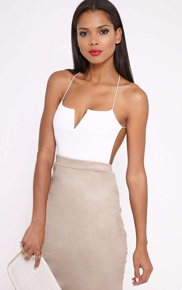 Raye Cream Cross Back Bodysuit 1