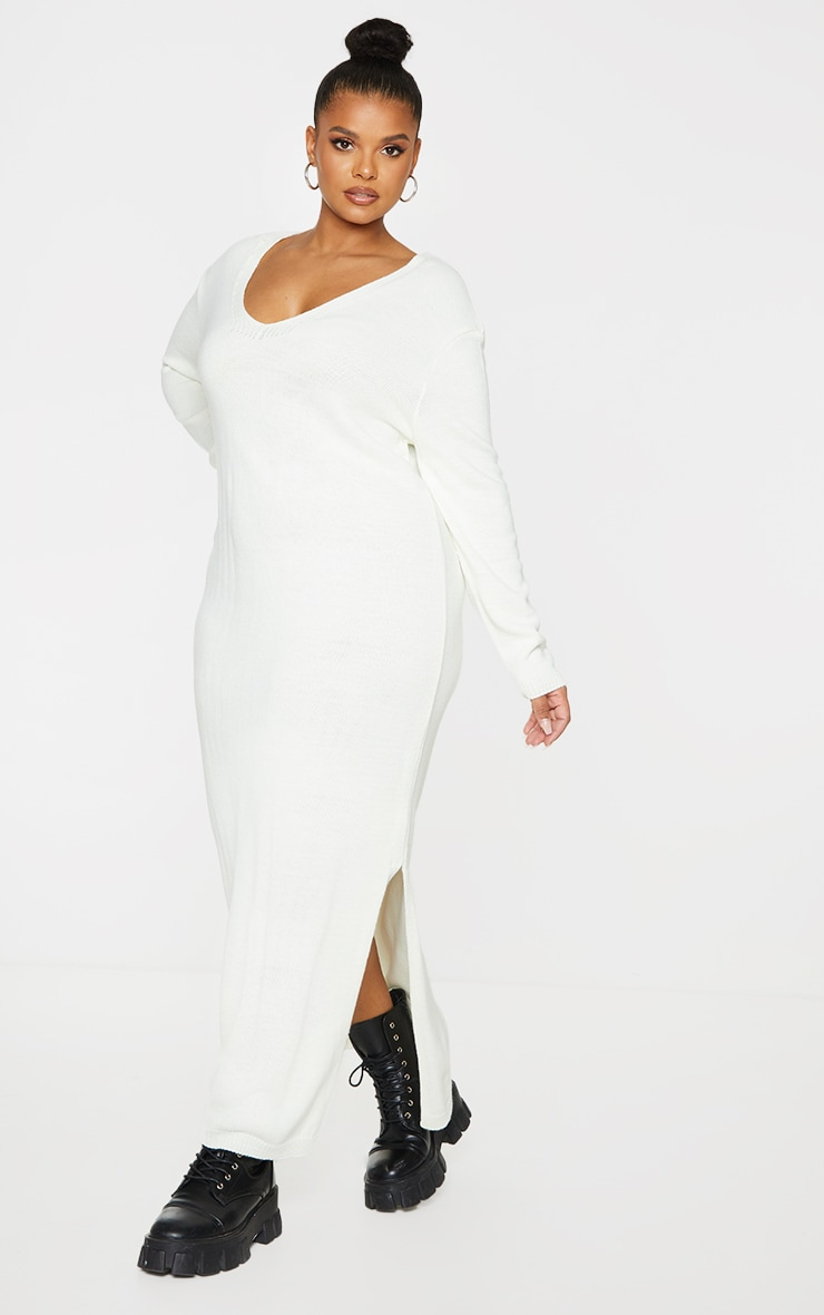 Plus Cream V Neck Midaxi Knitted Dress 3